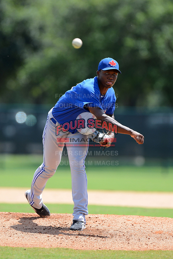 GCL Blue Jays pitcher Francisco Diaz (35) during a game against the GCL Braves on July 15, 2013 at Disney's Wide World of Sport in Orlando, Florida.  The game was called in the 4th inning due to rain storms with the Braves leading 5-0.  (Mike Janes/Four Seam Images)