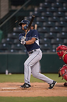 AZL Padres 2 center fielder Sean Guilbe (10) breaks his bat on a double to left field during an Arizona League game against the AZL Angels at Tempe Diablo Stadium on July 18, 2018 in Tempe, Arizona. The AZL Padres 2 defeated the AZL Angels 8-1. (Zachary Lucy/Four Seam Images)