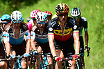 The peleton led by Belgian National Champion Oliver Naesen (BEL) AG2R La Mondiale in action during Stage 4 of the 2018 Criterium du Dauphine 2018 running 181km from Chazey sur Ain to Lans en Vercors, France. 7th June 2018.<br /> Picture: ASO/Alex Broadway | Cyclefile<br /> <br /> <br /> All photos usage must carry mandatory copyright credit (© Cyclefile | ASO/Alex Broadway)