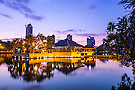 Seema Malaka Temple on South Beira Lake by evening light, Colombo, Sri Lanka