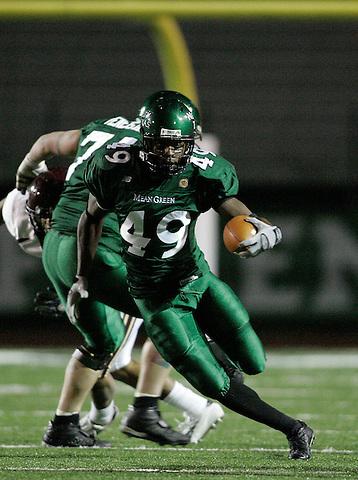 DENTON, TX  NOVEMBER 19: Brandon Jackson #49 - University of North Texas Mean Green vs University Louisiana Monroe Warhawks at Fouts Field in Denton on November 19, 2005 in Denton, TX. ULM won 24-19. Photo by Rick Yeatts