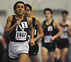 Isaiah Claiborne of Northport races to victory in the boys 1,000 meter run during the Suffolk County girls winter track and field state qualifiers at Suffolk Community College Grant Campus in Brentwood on Monday, Feb. 12, 2018. He posted a time of 2:32.45
