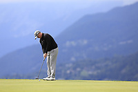 Marcus Fraser (AUS) takes his putt on the 7th green during Sunday's Final Round of the 2017 Omega European Masters held at Golf Club Crans-Sur-Sierre, Crans Montana, Switzerland. 10th September 2017.<br /> Picture: Eoin Clarke | Golffile<br /> <br /> <br /> All photos usage must carry mandatory copyright credit (&copy; Golffile | Eoin Clarke)