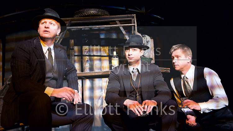 Three Comrades <br /> by Erich Maria Remarque <br /> Moscow Theatre <br /> Sovremennik <br /> at Piccadilly Theatre, London, Great Britain <br /> Press photocall <br /> 4th May 2017 <br /> Sergey Yushkevich as Otto Koster<br /> Alexander Khovanskiy as Robert Lokhamp <br /> Sergei Girin as Gottfried Lenz <br /> <br /> Photograph by Elliott Franks <br /> Image licensed to Elliott Franks Photography Services