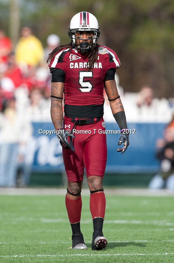January 2, 2012: South Carolina Gamecocks cornerback Stephon Gilmore (5) during first half game action in the Capital One Bowl between the Nebraska Cornhuskers and the South Carolina Gamecocks at the Citrus Bowl in Orlando, Fl.