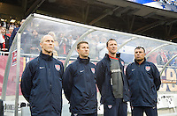 USA coaching staff: Bob Bradley, Mike Sorber, Pierre Barrieu, Zach Abdel. The USA defeated Honduras, 2-1, in a World Cup qualifying match at Soldier Field in Chicago, IL on June 6, 2009.