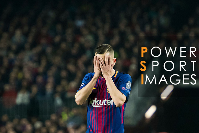 Jordi Alba Ramos of FC Barcelona reacts during the UEFA Champions League 2017-18 Round of 16 (2nd leg) match between FC Barcelona and Chelsea FC at Camp Nou on 14 March 2018 in Barcelona, Spain. Photo by Vicens Gimenez / Power Sport Images