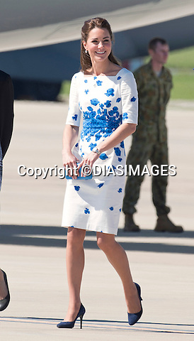 19.04.2014;Brisbane: KATE AND PRINCE WILLIAM<br /> arrive at RAF Amberley, near Brisbane<br /> Mandatory Photo Credit: &copy;Dias/DIASIMAGES<br /> <br /> **ALL FEES PAYABLE TO: &quot;NEWSPIX INTERNATIONAL&quot;**<br /> <br /> PHOTO CREDIT MANDATORY!!: NEWSPIX INTERNATIONAL(Failure to credit will incur a surcharge of 100% of reproduction fees)<br /> <br /> IMMEDIATE CONFIRMATION OF USAGE REQUIRED:<br /> Newspix International, 31 Chinnery Hill, Bishop's Stortford, ENGLAND CM23 3PS<br /> Tel:+441279 324672  ; Fax: +441279656877<br /> Mobile:  0777568 1153<br /> e-mail: info@newspixinternational.co.uk