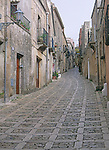 Narrow alleyway with housing in Erice, Sicily, Italy