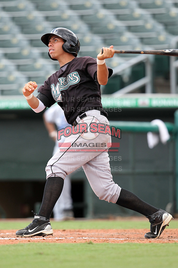 Shortstop Pedro Mendoza #13 of the Florida Marlins instructional League team during a game against the Italian National Team at the Roger Dean Stadium in Jupiter, Florida;  September 27, 2011.  Italy is training in Florida for the Baseball World Cup.  (Mike Janes/Four Seam Images)