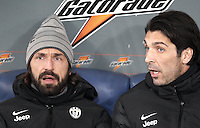 Calcio, semifinale di ritorno di Coppa Italia: Lazio vs Juventus. Roma, stadio Olimpico, 29 gennaio 2013..Juventus goalkeeper Gianluigi Buffon, right, talks to teammate Andrea Pirlo prior to the start of the Italy Cup football semifinal return leg match between Lazio and Juventus at Rome's Olympic stadium, 29 January 2013..UPDATE IMAGES PRESS/Riccardo De Luca