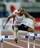 Derrick Williams ran 49.65sec. in the 1st. round of the 400m hurdles at the 11th. IAAF World Championdhips on Saturday, August 25, 207. Photo by Errol Anderson, The Sporting Image.