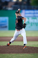 Batavia Muckdogs relief pitcher Ryan McKay (24) delivers a pitch during a game against the West Virginia Black Bears on June 20, 2018 at Dwyer Stadium in Batavia, New York.  West Virginia defeated Batavia 4-3.  (Mike Janes/Four Seam Images)