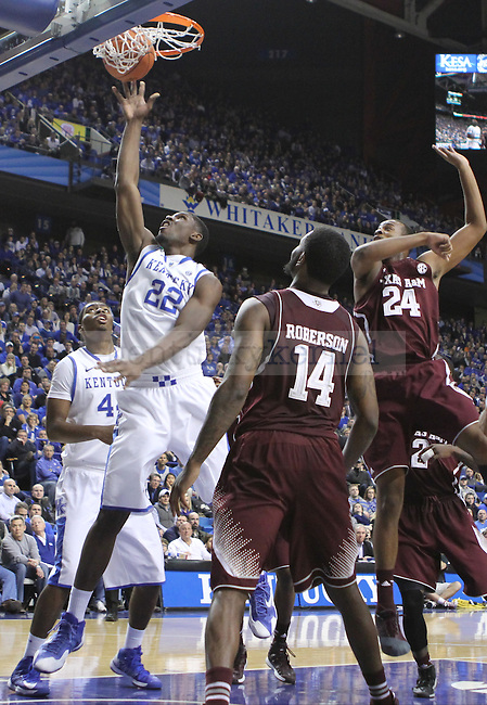 Kentucky Wildcats forward Alex Poythress (22) goes up for lay up during the second half of the UK Men's basketball game vs. Texas A&M at Rupp Arena in Lexington, Ky., on Tuesday January 21, 2014. UK defeated Texas A&M 68-51 Photo by Joel Repoley | Staff