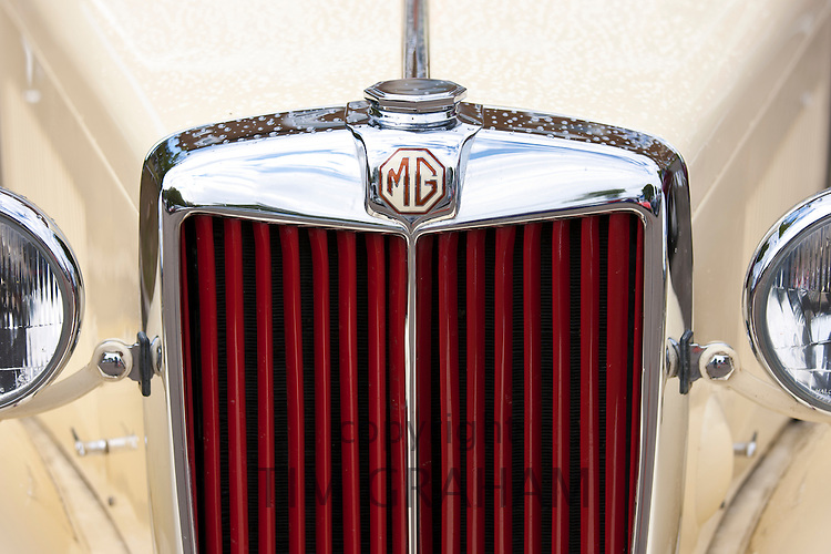 Badge Logo of MG car at classic car rally at Brize Norton in Oxfordshire, UK