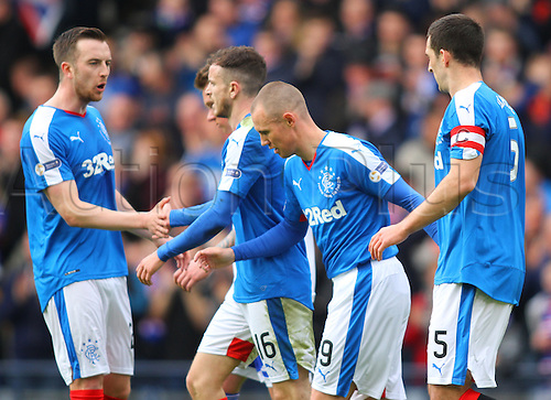 10.04.2016. Hampden Park, Glasgow, Scotland. Petrofac Training Cup Final. Rangers versus Peterhead. The Rangers players celebrate the first goal