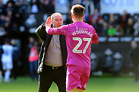 Steve Cooper Head Coach of Swansea City celebrates with Freddie Woodman of Swansea City at full time during the Sky Bet Championship match between Swansea City and Cardiff City at the Liberty Stadium in Swansea, Wales, UK. Sunday 27 October 2019