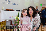 "Saoirse Daly, who will be starting ""big"" school at Blennerville NS this September pictured with her mom Joanne Daly during the school's official opening on Wednesday afternoon."