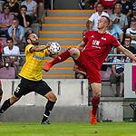 23.07.2019, Arena Memmingen, RL, FC Memmingen vs SpVgg Bayreuth, <br /> DFL regulations prohibit any use of photographs as image sequences and/or quasi-video, <br /> im Bild Anton Makarenko (Bayreuth, #15), Marco Nickel (Memmingen, #13)<br /> <br /> Foto © nordphoto / Hafner