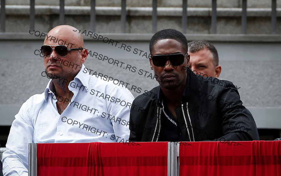 BELGRADE, SERBIA - JULY 16: Pop singer Simon Web (R) attends match between Dusan Lajovic of Serbia and James Ward of Great Britain during the Davis Cup Quarter Final match between Serbia and Great Britain on Stadium Tasmajdan on July 16, 2016 in Belgrade, Serbia. (Photo by Srdjan Stevanovic/Getty Images)