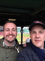 COPY BY TOM BEDFORD MEDIA<br /> Pictured: Matt Evans (R) with pal Rusty Ware watching his beloved Baltimore Orioles play the Boston Redsocks<br /> Re: Former postman, lotto Millionaire Matt Evans, 35, from Barry, south Wales, who has been spending his winnings to travel the world to watch various sports events.