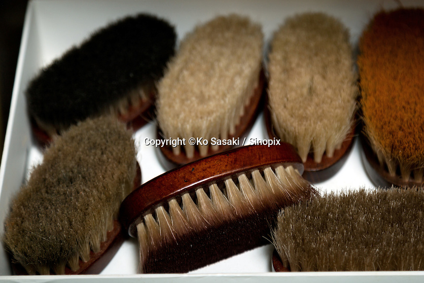 shoe brushes at atelier of Sarukawa Footwear College