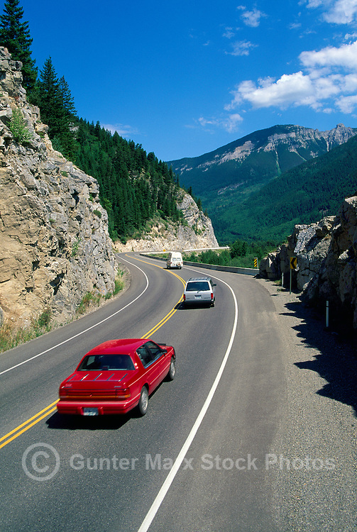 Vehicles travelling to Fernie on Highway #3 through Elk Valley, BC, British Columbia, Canada