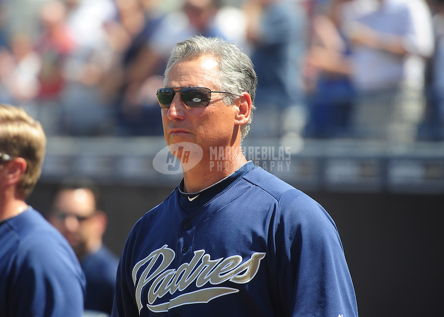 Mar. 27, 2012; Peoria, AZ, USA; San Diego Padres manager Bud Black prior to the game against the Los Angeles Dodgers at Peoria Stadium.  Mandatory Credit: Mark J. Rebilas-
