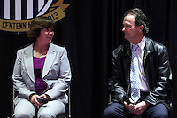 INDIANAPOLIS, IN - January 18, 2013: 1991 World Cup captain and 2003 World Cup coach April Heinrichs (left) with 1991 World Cup coach Anson Dorrance. U.S. Soccer hosted a World Cup Coaches and Captains panel at the Indiana Convention Center in Indianapolis, Indiana during the NSCAA Annual Convention.