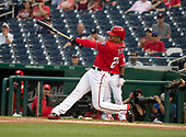Washington Nationals right fielder Juan Soto (22) connects for a two-run home run in the sixth inning against the New York Yankees at Nationals Park in Washington, D.C. on Monday, June 18, 2018.  This is to complete the game that was suspended after the top of the sixth inning on May 15, 2018 with the score tied 3 - 3. <br /> Credit: Ron Sachs / CNP<br /> (RESTRICTION: NO New York or New Jersey Newspapers or newspapers within a 75 mile radius of New York City)