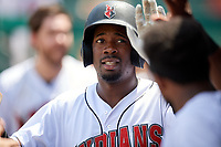 Indianapolis Indians Darnell Sweeney (43) high fives teammates during an International League game against the Syracuse Mets on July 17, 2019 at Victory Field in Indianapolis, Indiana.  Syracuse defeated Indianapolis 15-5  (Mike Janes/Four Seam Images)