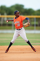 GCL Astros shortstop Joan Mauricio (47) throws to first during a game against the GCL Nationals on August 14, 2016 at the Carl Barger Baseball Complex in Viera, Florida.  GCL Nationals defeated GCL Astros 8-6.  (Mike Janes/Four Seam Images)