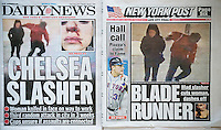 The New York Daily News and Post report on Thursday, January 7, 2016 about the previous day's random slashing of Amanda Morris on her way to work in the Chelsea neighborhood of New York allegedly by Kari Bazemore. the incident was caught on surveillance tape and occurred at approximately 5:50 am Wednesday. (© Richard B. Levine)