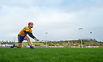 Peter Duggan of Clare takes a sideline cut during the Jack Lynch Memorial game against Wexford at Tulla. Photograph by John Kelly.