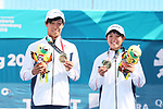 Riko Hayashida & Toshiki Uematsu (JPN), <br /> AUGUST 30, 2018 - Soft Tennis : <br /> Mixed Doubles  Medal ceremony<br /> at Jakabaring Sport Center Tennis Courts <br /> during the 2018 Jakarta Palembang Asian Games <br /> in Palembang, Indonesia. <br /> (Photo by Yohei Osada/AFLO SPORT)