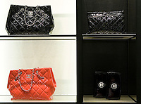 Chanel bags in Chanel boutique in Peninsula hotel in Shanghai, on December 3, 2009. Chanel's Peninsula hotel boutique is the largest Chanel store in China and was opened on December 3. Photo by Lucas Schifres/Pictobank