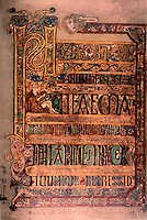 Visual Arts:  Book of Kells--illuminated manuscript of the Gospel Book in Latin.  On permanent display at the Trinity College Library, Dublin. Photo '84.