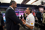 Ex coach Juan Antonio Orenga with the actual coach Sergio Scariolo during the 80th Aniversary of the National Basketball Team at Melia Castilla Hotel, Spain, September 01, 2015. <br /> (ALTERPHOTOS/BorjaB.Hojas)