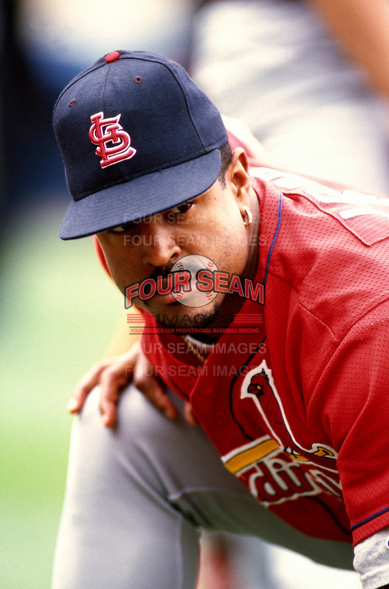 Brian Jordan of the St. Louis Cardinals participates in a Major League Baseball game at Dodger Stadium during the 1998 season in Los Angeles, California. (Larry Goren/Four Seam Images)