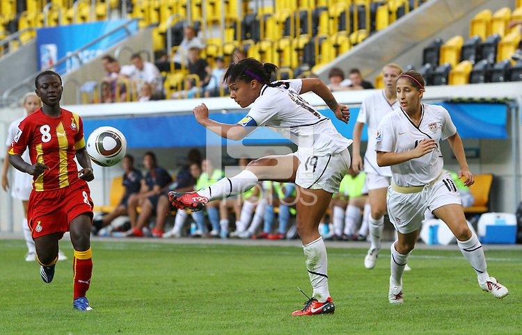 USA's Sydney Leroux tries to score during the FIFA U20 Women's World Cup at the Rudolf Harbig Stadium in Dresden, Germany on July 14th, 2010.