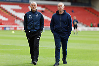 (L-R) Assistant First Team Coach Mike Marsh and Swansea City manager Steve Cooper inspect the pitch prior to the Sky Bet Championship match between Barnsley and Swansea City at Oakwell Stadium, Barnsley, England, UK. Saturday 19 October 2019