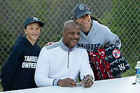 Former Major League Baseball star Darryl Strawberry poses for a photo with fans as he signs autographs at the South Atlantic League game between the Lakewood BlueClaws and the Kannapolis Intimidators at Kannapolis Intimidators Stadium on April 6, 2017 in Kannapolis, North Carolina.  The BlueClaws defeated the Intimidators 7-5.  (Brian Westerholt/Four Seam Images)