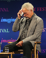 Hay on Wye. Sunday 05 June 2016<br /> Tom Jones is getting visibly upset when speaking about his late wife Lide on stage, at the Hay Festival where he spoke about his book 'Over The Top And Back The Autobiography' at Hay on Wye, Wales, UK