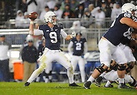 22 October 2016:  Penn State QB Trace McSorley (9) throws from the pocket. The Penn State Nittany Lions upset the #2 ranked Ohio State Buckeyes 24-21 at Beaver Stadium in State College, PA. (Photo by Randy Litzinger/Icon Sportswire)
