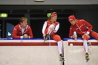 SCHAATSEN: HEERENVEEN: 23-09-2013, IJsstadion Thialf, Training Team Corendon, Peter Kolder (trainer/coach) - Lotte van Beek, Maurice Vriend, ©foto Martin de Jong