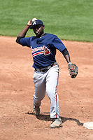 Cornelius Randolph (2) of Griffin High School in Williamson, Georgia playing for the Atlanta Braves scout team during the East Coast Pro Showcase on August 2, 2014 at NBT Bank Stadium in Syracuse, New York.  (Mike Janes/Four Seam Images)
