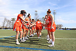 DURHAM, NC - FEBRUARY 16: Campbell's Sam Carey (9). The Duke University Blue Devils hosted the Campbell University Camels on February 16, 2018, at Koskinen Stadium in Durham, NC in women's college lacrosse match. Duke won the game 18-8.