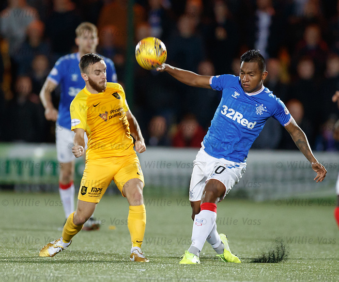 25.09.2018 Livingston v Rangers: Steven Lawless and Alfredo Morelos
