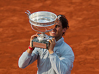 France, Paris, 08.06.2014. Tennis, French Open, Roland Garros, Final men: Rafael Nadal (ESP) with the trophy  <br /> Photo:Tennisimages/Henk Koster
