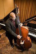 John Brown, Director of Jazz Studies at Duke University, plays his upright bass in a recording studio inside the Mary Duke Biddle Music Building on East Campus.